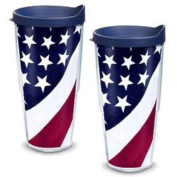 2 American Flag 24 Oz. Tervis Tumblers with Lids