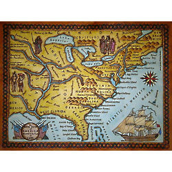 United States 1784 Vintage Leather Wall Map