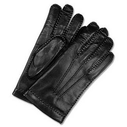 Men's Cashmere Lined Black Italian Leather Gloves