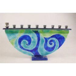 Blue Swirl Menorah