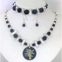 Lapis Lazuli and Pearls Necklace, Earrings and Bracelet Set