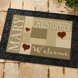 Welcoming Hearts Personalized Doormat