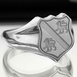 Sterling Silver Family Crest Shield Ring