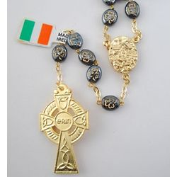 Celtic Cross Rosary with Knock Medal and Shamrock Black Beads
