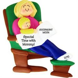 Blonde Mommy and Baby Reading Book Ornament