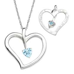 Sterling Silver Granddaughter's Birthstone Heart Necklace