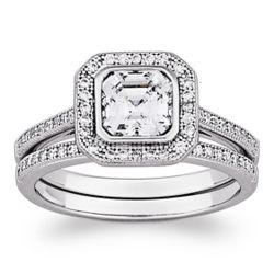 Sterling Silver MicroPave Asscher-Cut Wedding Ring Set