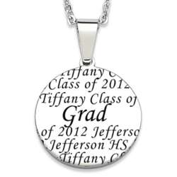 Personalized Stainless Steel Graduate Disc Necklace