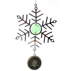 Personalized Green Crystal and Silver Army Snowflake Ornament