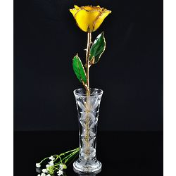 24K Gold Trimmed Yellow Rose with Crystal Vase
