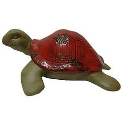 Ceramic Red Sea Turtle Garden Figure