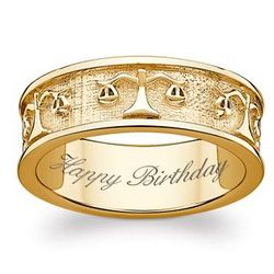 Gold Over Sterling Libra Engraved Message Band