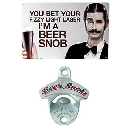Beer Snob Bar Sign and Wall Mount Bottle Opener Gift Set