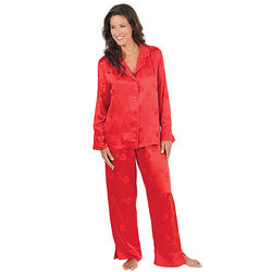 Women's Elegant Red Silk Pajamas