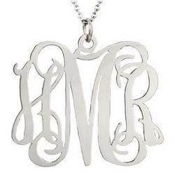 Fancy Script Sterling Silver Monogram Necklace