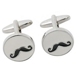 Chrome Mustache Cufflinks