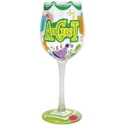 Happy August Wine Glass