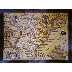 United States 1784 Leather Map in Natural
