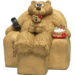 Daddy Grandkids Bears in Chair