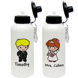 Custom Character Bride and Groom Aluminum Water Bottle