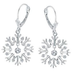 Diamond Snowflake Earrings in 14k White Gold