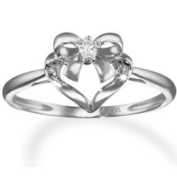 14K White Gold Diamond Bow and Heart Promise Ring