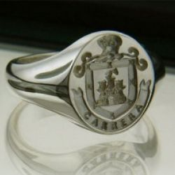 Arms, Name and Mantle Medium Sterling Silver Ring