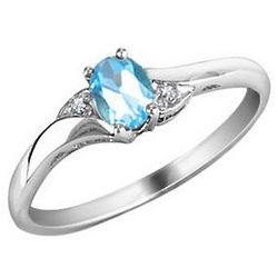 Blue Topaz Ring with Diamonds in White Gold