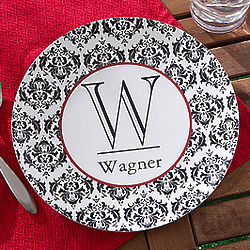 Personalized Damask Family Name and Initial Melamine Plate