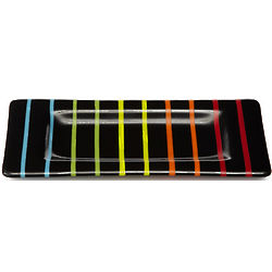 Striped Rectangle Glass Tray