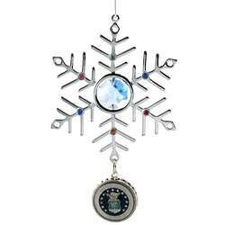 Engraved Blue Crystal and Silver Air Force Snowflake Ornament