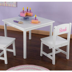 Personalized Kid's White Table and Chair Set