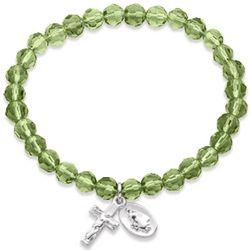 Silvertone Rosary August Birthstone Stretch Bracelet