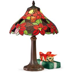 Tiffany-Style Hand-Cut Stained Glass Poinsettia Lamp