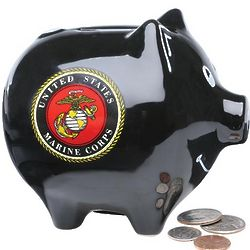 Marines Hand-Painted Piggy Bank