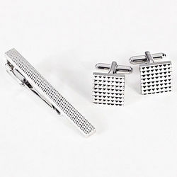 Checkered Cufflinks and Tie Pin
