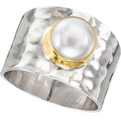 Cultured Pearl on Hammered Sterling Silver Ring