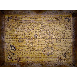 Antique World 1587 Leather Map in Natural with Rods