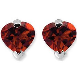 Garnet Heart Stud Earrings in 14K White Gold