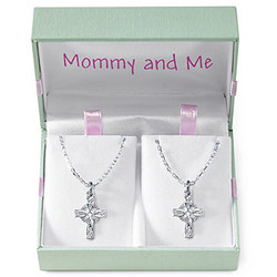Sterling Silver 'Mommy And Me' Celtic Cross Set