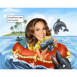 Ocean Photographer Custom Caricature from Photo