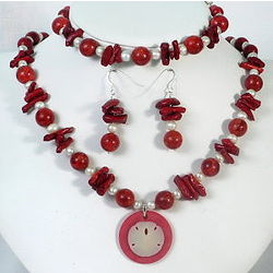Red Sponge Coral Pendant Necklace, Bracelet, and Earrings Set