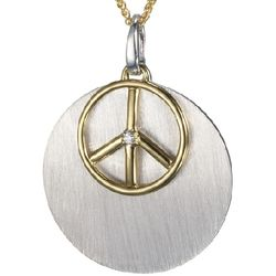 14k Gold Diamond Peace Sign and Sterling Disc Pendant