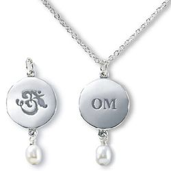 "Sterling Silver & Pearl ""OM"" Necklace"