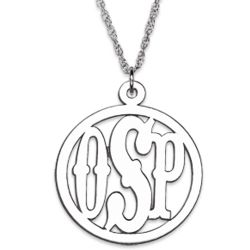 Sterling Silver 3 Initial Circle Monogram Necklace
