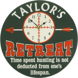 Bulls Eye Hunting Retreat Personalized Wall Clock