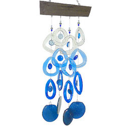 Recycled Glass Wind Chime in Glacier Blue