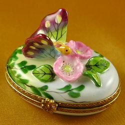 Butterfly and Roses Limoges Box