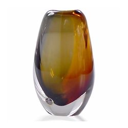 Amber Encased Crystal Vase
