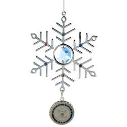 Engraved Blue Crystal and Silver Navy Snowflake Ornament
